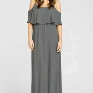NWT Mumu Caitlin Ruffle Maxi Dress XL Gray